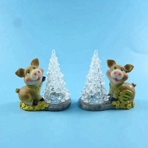 New resin crafts,resin pig home decor with led light