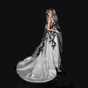 032ecd747 OEM por encargo al por mayor barrido tren vestido de novia bordado de  encaje negro sin