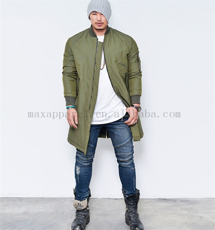 2015 Custom Men Nylon Long Extended Jackets Army Green Bomber ...