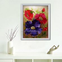 Decoration items textured red flowers painting