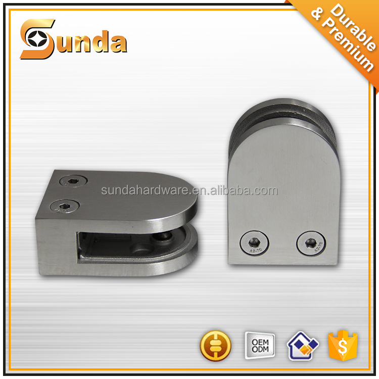 201 / 304/ 316 stainless steel flat glass clamp /square glass holding clips/bathroom clips