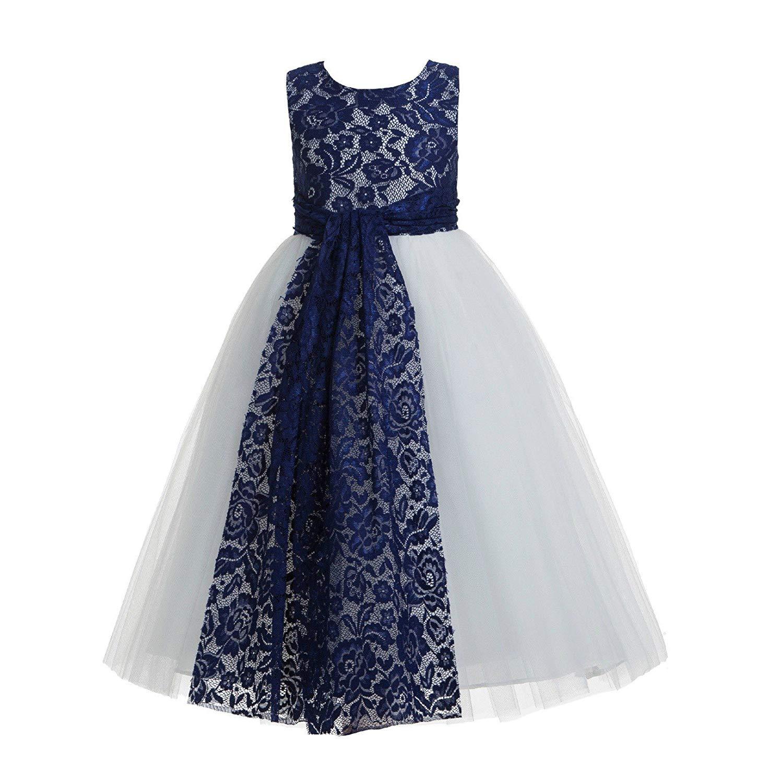 505616641 Get Quotations · ekidsbridal Navy Blue Floral Lace Heart Cutout Flower Girl  Dresses Formal Flower Girl Dress Pageant Dresses