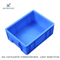 Plastic solid storage box food container turnover crate with lid and card holder 350*265*130mm