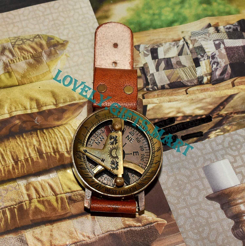 saif.nautical.store Antique Steam punk Wrist Brass Compass & Sundial-Watch Type Sundial