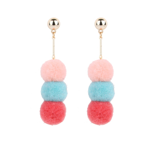 Fashionable cheap earrings made in china fabric pom pom earrings