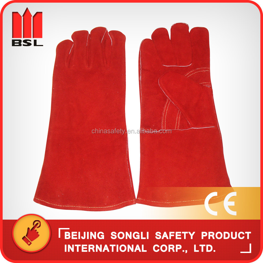 China hot selling top quality low price SLG-HD8020-R1 cowsplit leather industrial working welding safety gloves