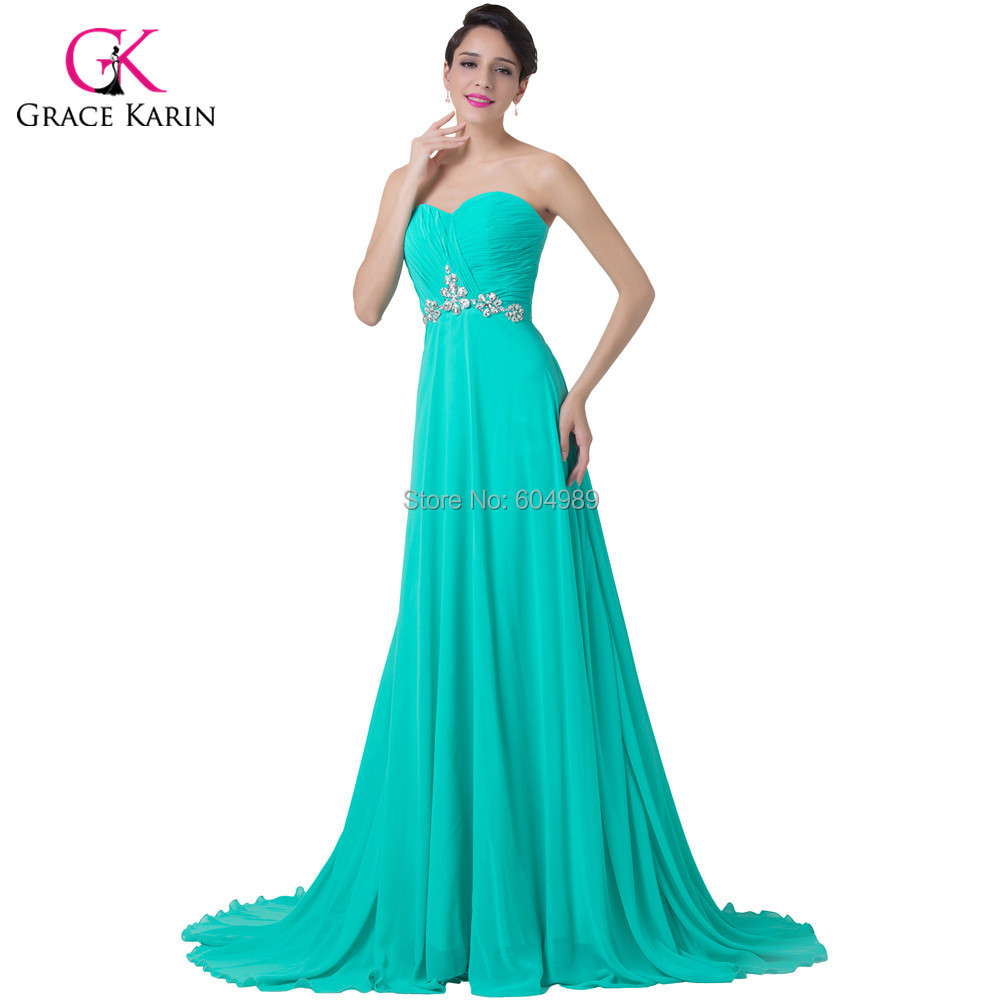 dd0642a3fee59 Get Quotations · Elegant Grace Karin Turquoise Floor length vestidos longo  Sweetheart Prom Beaded Evening Dress Long Formal Gown
