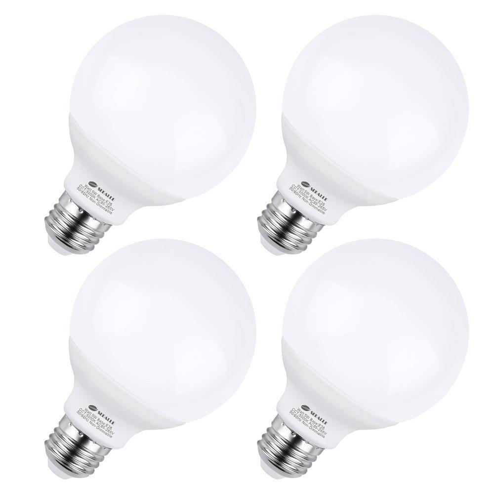 G25 E26 LED Bulbs, 5 Watt Vanity Light Bulbs, G25 50W Incandescent Globe Bulbs Equivalent, 5000K Daylight White Makeup LED Light Bulbs, Medium E26 Base Non-Dimmable for Home Lighting (Pack of 4)