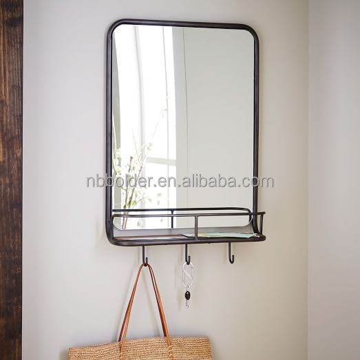 Cheap large size antique decorative entry metal wall vanity mirror with hanger hooks