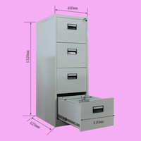 Plastic handle metal central lock system 4 drawer file cabinet