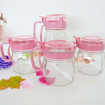 Kitchen Type And Drum Shape Condiment Dispenser Glass Jar Set With Pink  Plastic Handle And Lid From Bengbu Cattelan Glassware - Buy Storage Glass  ...