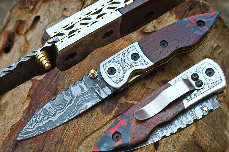 "Damascus 3.0"" Folding knife w/Steel Engraved Bolsters, Clip, File-Work, Liner Lock,Walnut Wood, Kirinite & Sheath cover UDK-D-C-F-90"