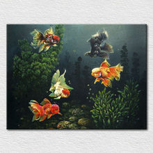 Canvas printed art from hand painted oil painting impression Scenery in aquarium goldfish and aquatic plants free shipping