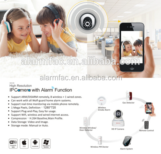 wifi Alarm IP camera alarm systems with IOS and Android Application