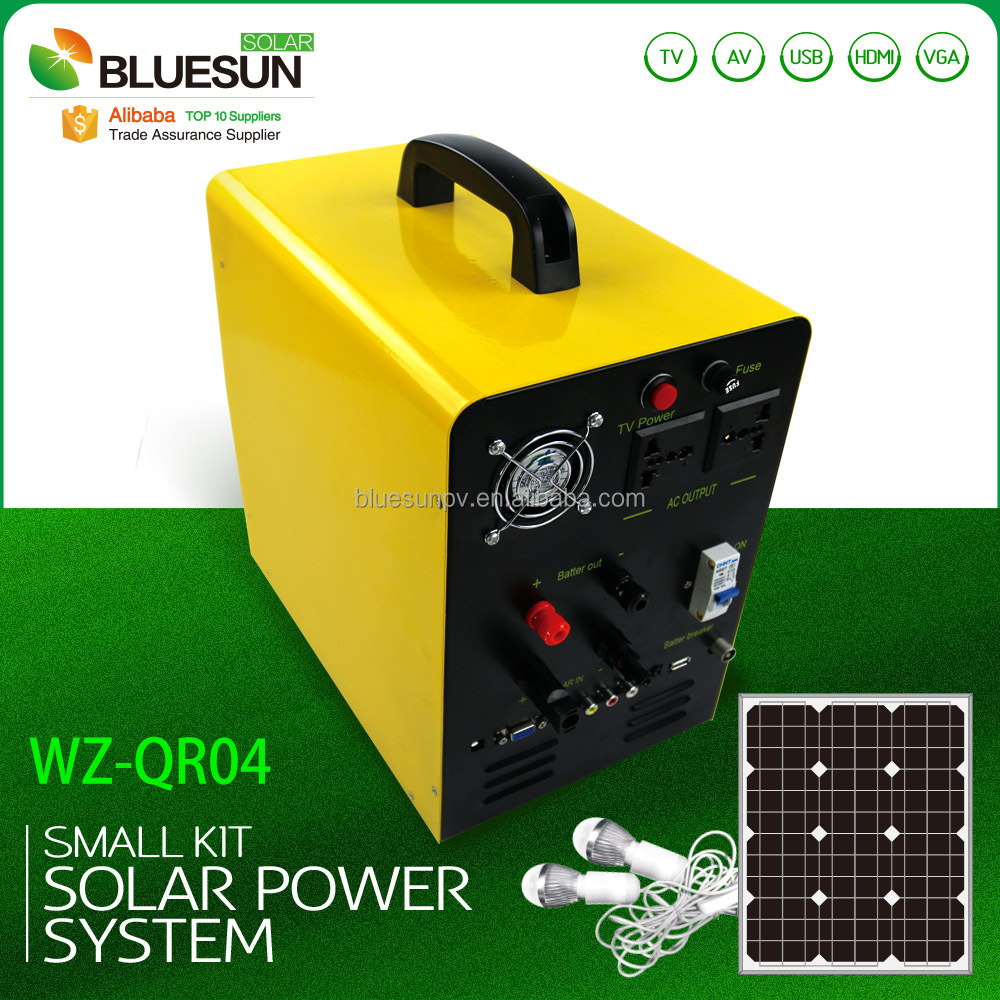 Bluesun 50W-100W 12 volt portable solar panels using voltage 5V 12V 220V MP3/SD/USB/TV/AV/VGA/HDMI function