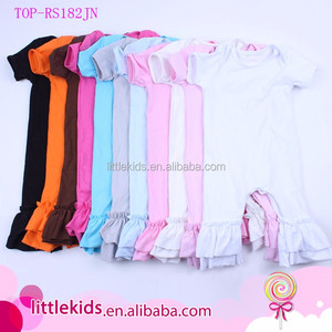 004a6c66b79d IN STOCK Wholesale Baby Girls Knit Double Ruffle Icing Romper Remake Blank  Baby Cotton Bodysuits Romper