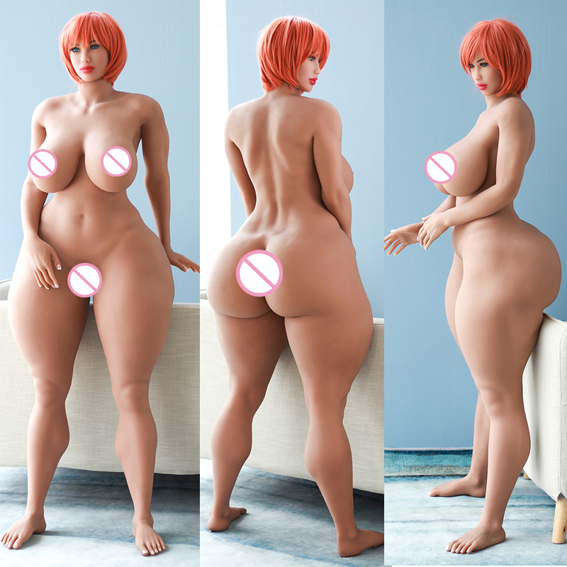 170 cm/5,6ft Curvy Sex Doll Lifelike Large Breasts Fat Ass Silicone Realistic Love Doll with Metal Skeleton Male Masturbation
