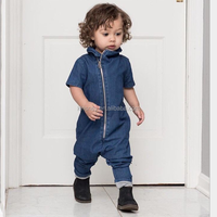 KS30627A Fashion baby boy jumpsuit clothes cool zip front design baby denim romper