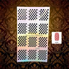 1PC Beauty Squar Gird Mesh Nail Art Stickers Stencil Template HJV202 Hollow Out Pattern Nail Foils