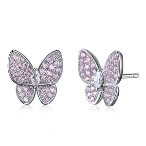 SH-E0158-P Fashion jewelry SGS 925 sterling silver pink cubic zirconia micro pave new arrival butterfly stud earrings for girls