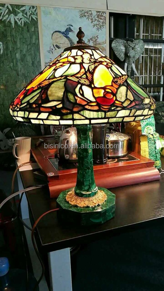 European Nouveal Malachite and Tiffany Stained Glass Table Lamp