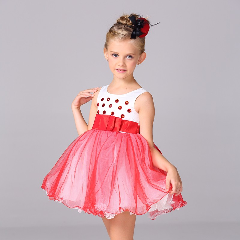 Children Unique Baby Girl Dress Crystal Satin Lace Dress Western ...