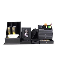 High quality PU leather office desktop desk accessories stationary organizer set