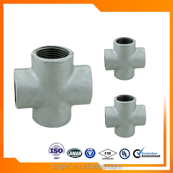 Best selling galvanized pipe fitting maleable iron 1/2 inch Cross