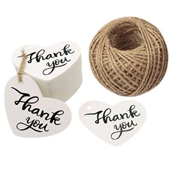 "Thank You Tags Heart Shape Tags,2.6"" X 2"" Kraft Paper Gift Tags with Natural Jute Twine Perfect for Baby Shower,Wedding Party"