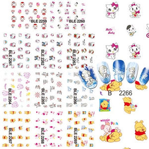 BLE1819-2247 Nail Art Water Transfer Decals Stickers Wraps ble nail sticker for girl Full Cover Foil Stickers water mark 2D
