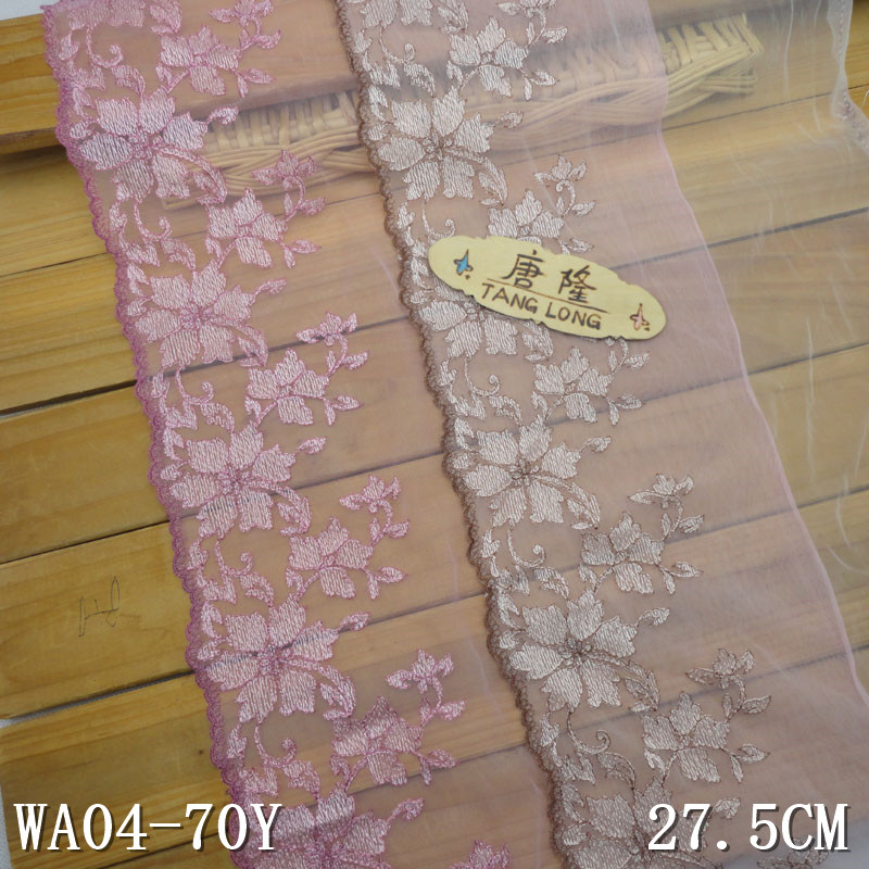 "27.5cm/10.8"" in stock wholesale pink floral ivory tulle embroidery lace"