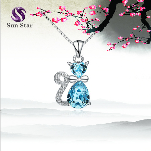 Cute <strong>Fashion</strong> 925 Sterling Silver Crystal Cat Pendant Necklace