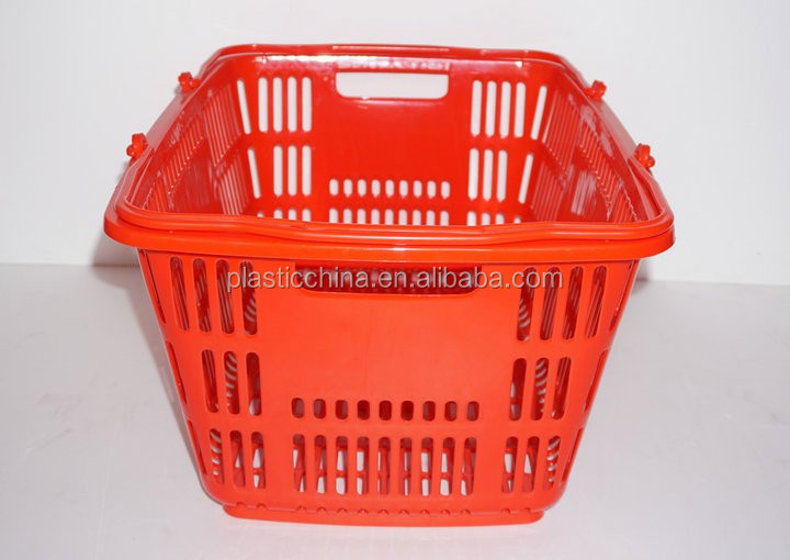 supermarket pp red plastic shopping baskets