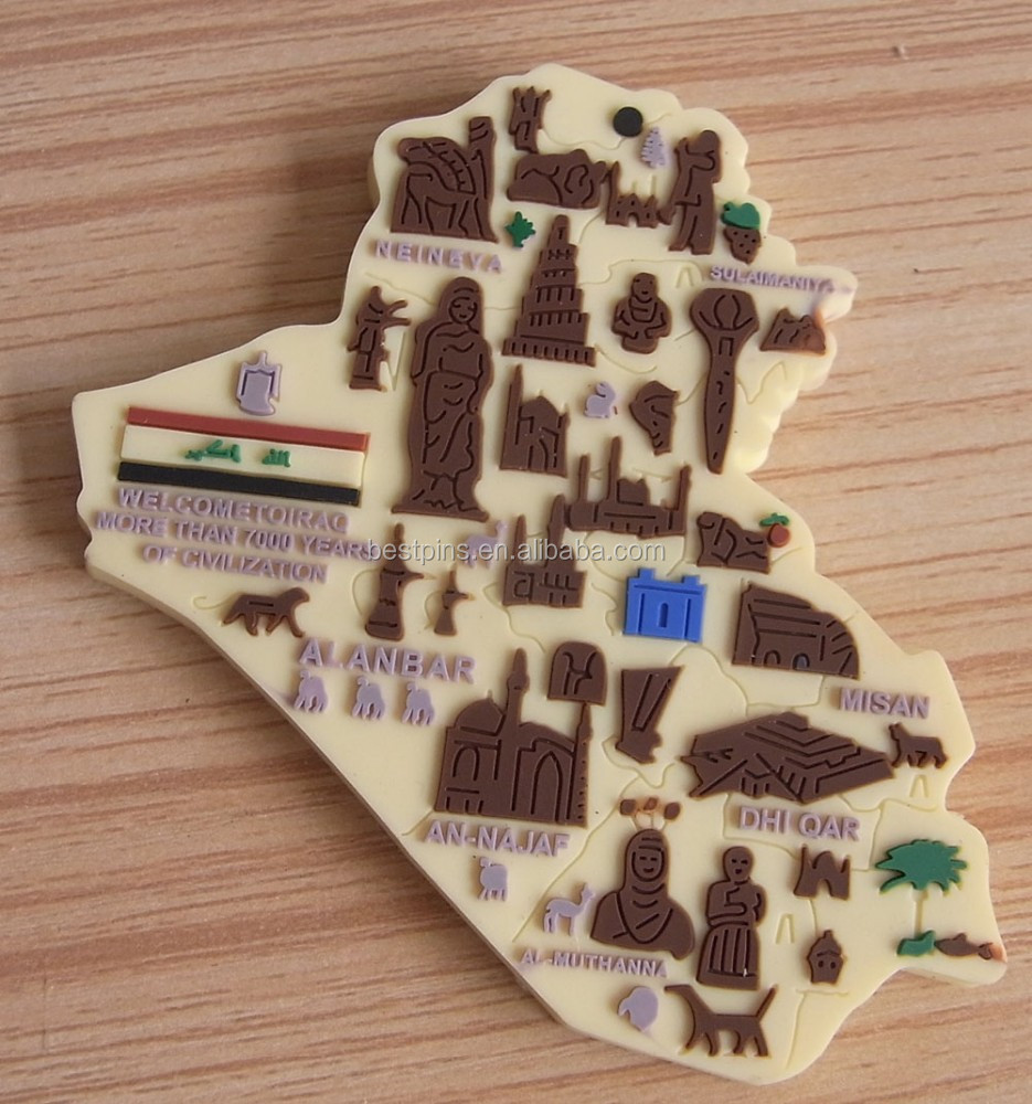 Iraq map design rubber 3D souvenir pvc fridge magnet(BS-JL-FM-14110801)