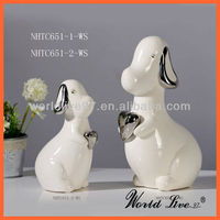NHTC651-1 Promotional White and silver small ceramic animals
