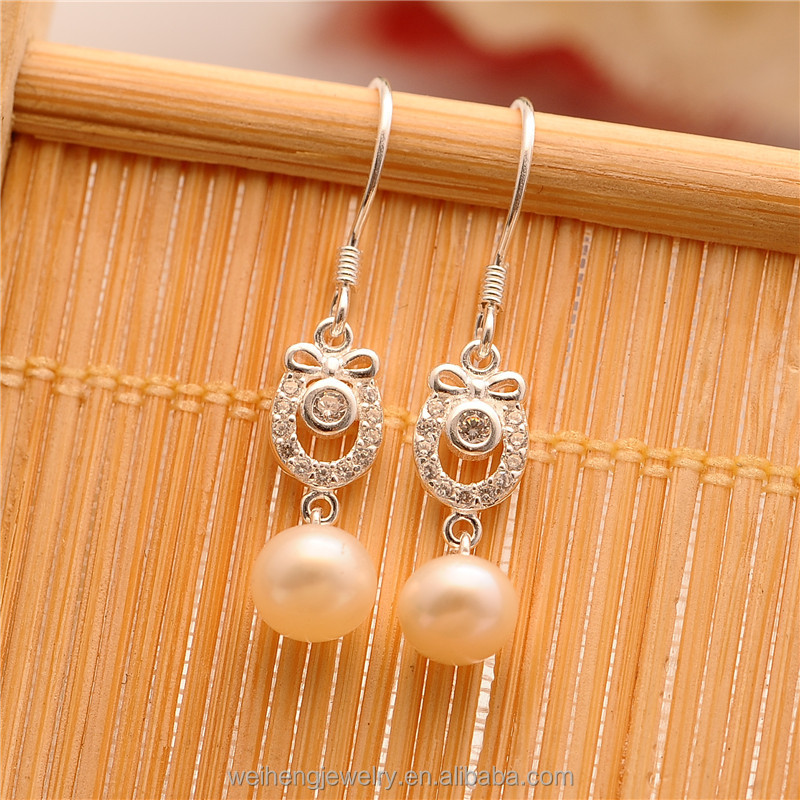 Vietnam best selling products silvering 925silver hanging pearl earrings for teens