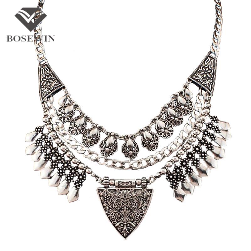 Богемия Chic Дизайн Моды Ожерелья Для Женщин 2016 Vintage Резьба Сплава Колье Себе Ожерелья и Кулоны Collares CE2882