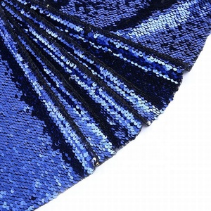 Polyester reversible royal blue large sequin fabric embroidery for women dress