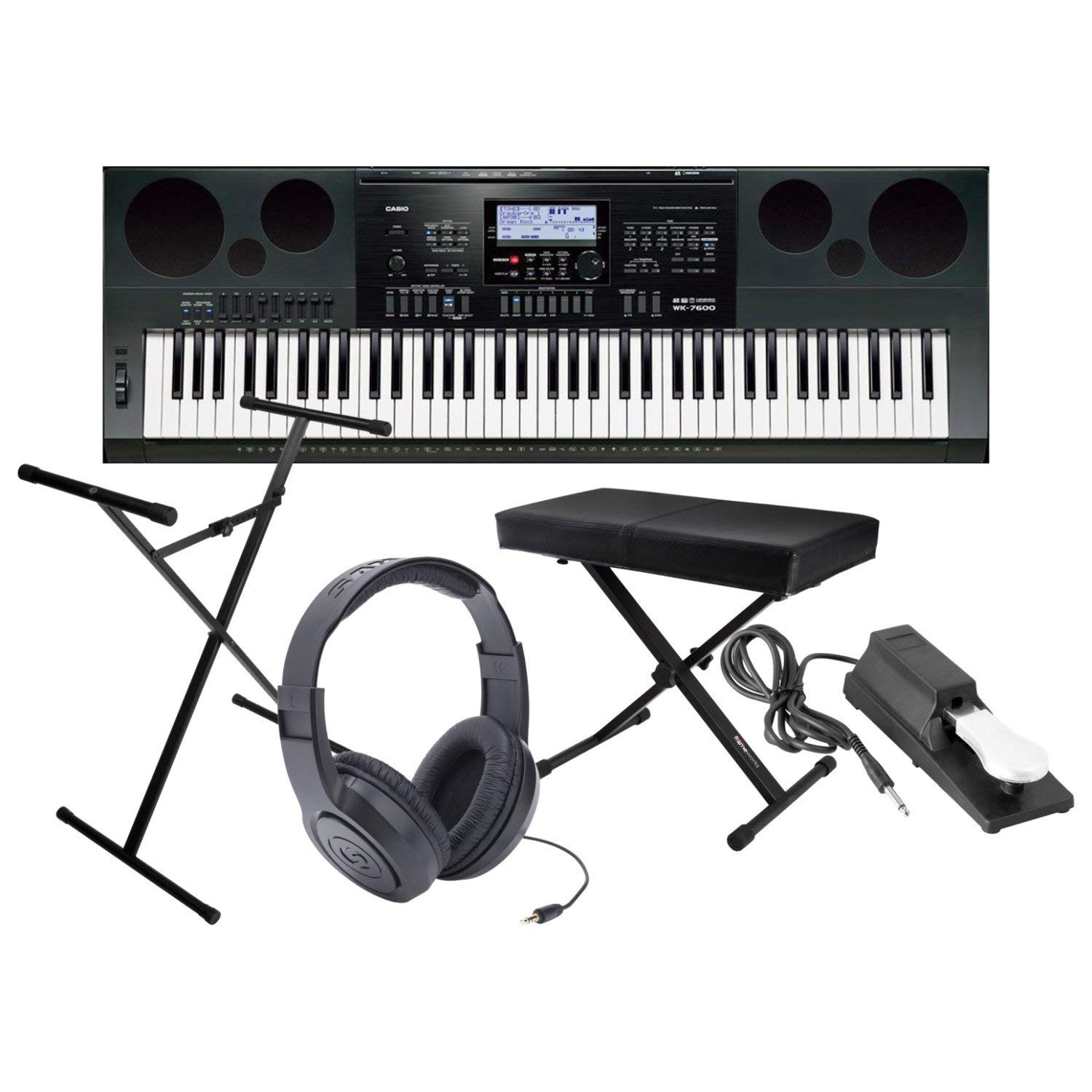 Get Quotations · Casio WK7600 Workstation Keyboard w/ Bench, Stand, Sustain  Pedal, and Headphones