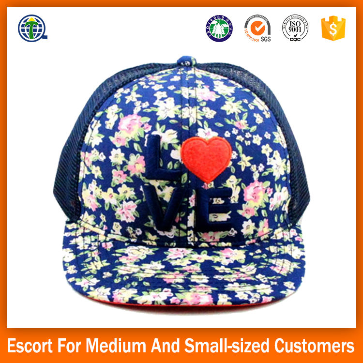 Design Your Own 6 Panel Von Letter Embroidery Floral Printed Logo Dutch Snap back Caps Online Mesh Trucker Kpop Hat with Foam fr