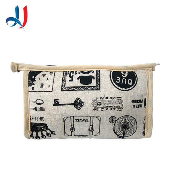 2019 Promotion high quality recyclable of clutch Jute Cosmetic bag with zipper for lady