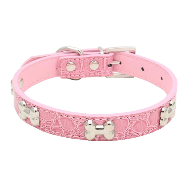 S = 361.5CM, Pink Pets Collars,Exquisite Adjustable Bowknot Dog Necklace Diamond Necktie Axchongery