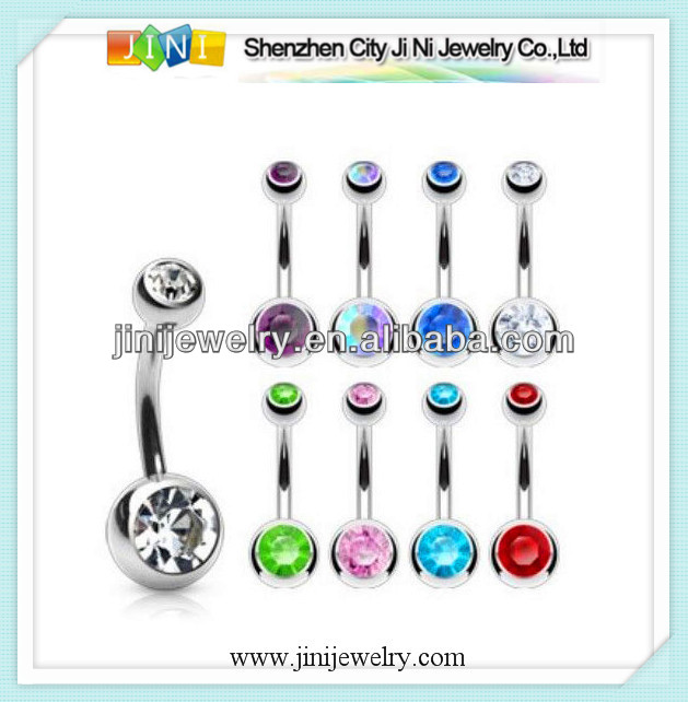 double gem ball navel ring button piercing