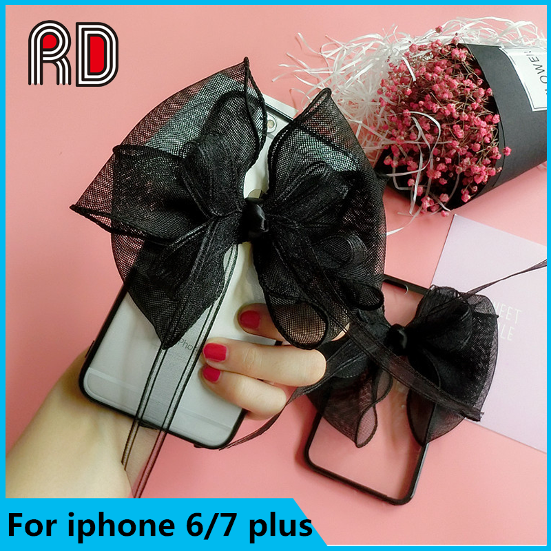 Big black bow-knot Lace transparent clear mobile phone case for iphone 6 6plus 7 7plus Acrylic back cover