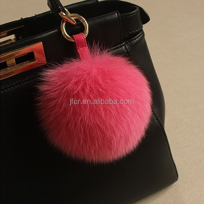 Lovely Pompom Fluffy Color Fox Fur Ball Keychains Big Genuine Fox Fur