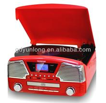 2015 hot selling turntable player with mp3 usb sd FM screen speaker function