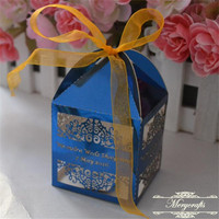 Selling well personalize laser cut wedding favor gift boxes with ribbon