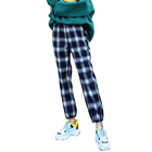Women Tall Pants Vintage Plaid Pattern Ladies Casual Trousers High-waist Cotton Pants