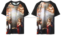 custom latest 2015 religious printed t shirt and sublimation printed t-shirt Full Graphic Printed T-shirt with raglan sleeves