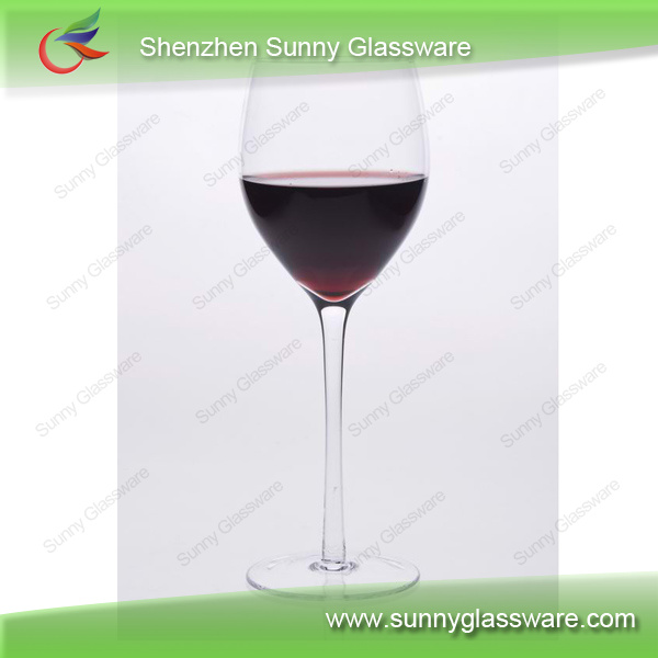 Popular clear long stem red wine glass